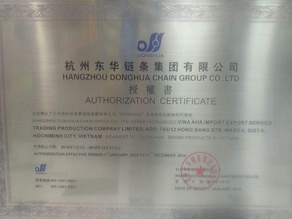 chứng nhận nhà phân phối xích donghua - Công ty TNHH SX TM DV XNK XÍCH DONGHUA