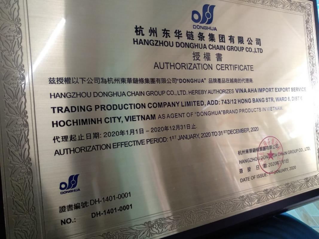 chứng nhận nhà phân phối xích donghua chính hãng large - Công ty TNHH SX TM DV XNK XÍCH DONGHUA